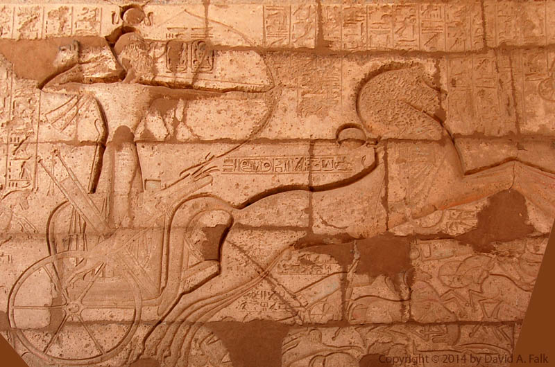 An image taken from the Ramesseum showing Ramesses II at the Battle of Kadesh.