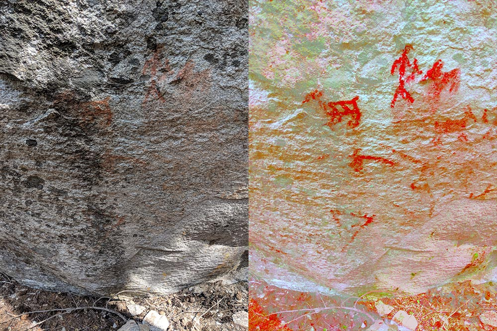 A split photo of the petroglyphs from Stein Park. The right half is enhanced by DStretch.