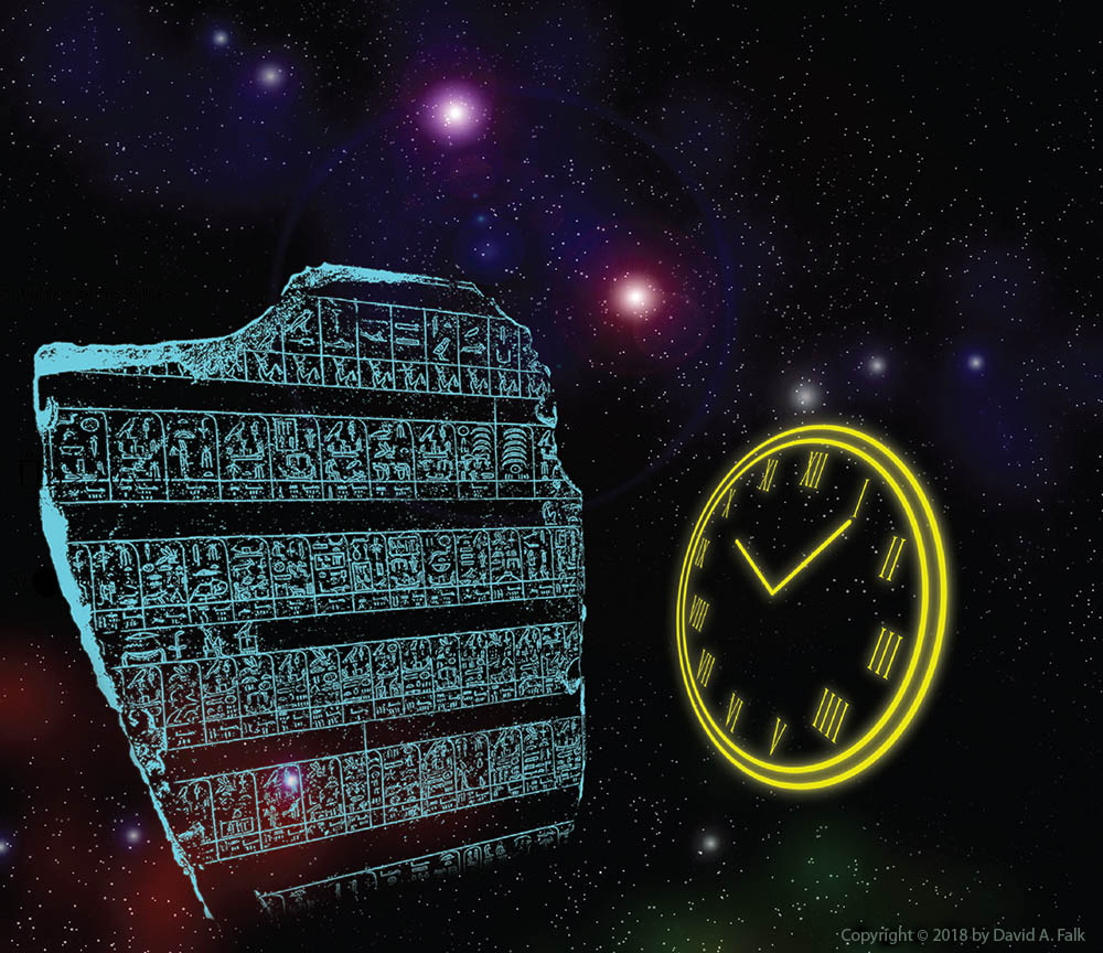 The Palermo stone and a clock set against a starscape